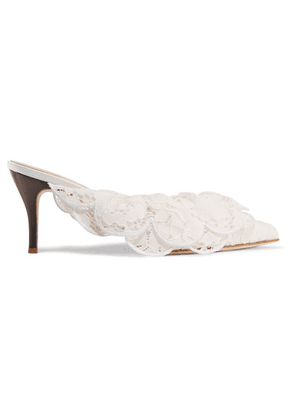 Brother Vellies - Stell Ruffled Corded Lace Mules - White