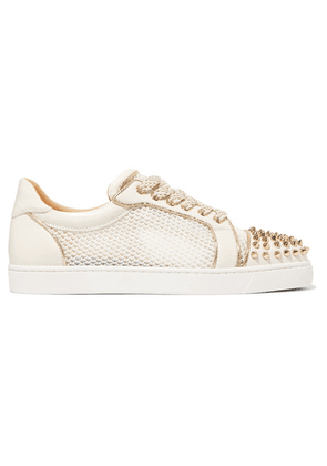 Christian Louboutin - Ac Vieira Spike Leather And Mesh Sneakers - White