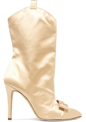 Alessandra Rich - Bow-embellished Satin Ankle Boots - Beige