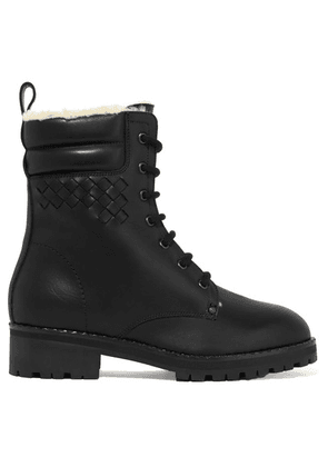 Bottega Veneta - Shearling-lined Intrecciato Leather Ankle Boots - Black