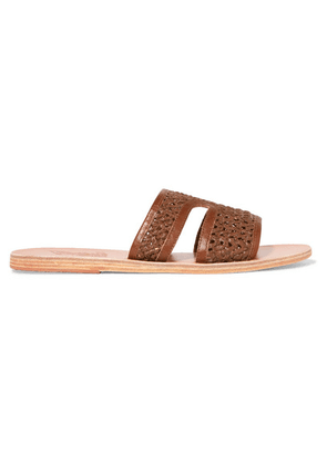 Ancient Greek Sandals - Apteros Woven Raffia And Leather Slides - Brown