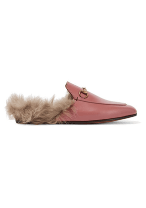 Gucci - Princetown Horsebit-detailed Shearling-lined Leather Slippers - Pink