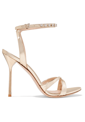 Miu Miu - Crystal-embellished Metallic Leather Sandals - Gold