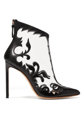 Francesco Russo - Leather And Pvc Ankle Boots - Black
