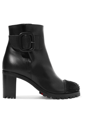 Christian Louboutin - Olivia Snow 70 Spiked Leather Ankle Boots - Black