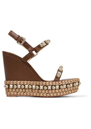 Christian Louboutin - Cataconico 120 Embellished Leather Wedge Sandals - Brown