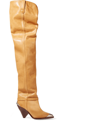 Isabel Marant - Lafsten Embellished Leather Over-the-knee Boots - Sand