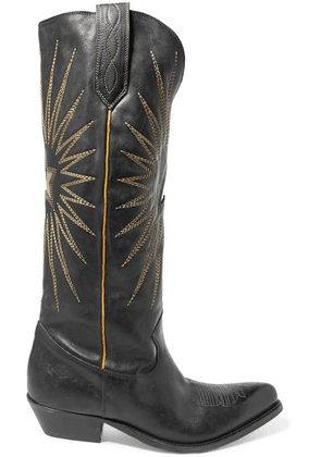 Golden Goose Deluxe Brand - Wish Star Embroidered Textured-leather Knee Boots - Black