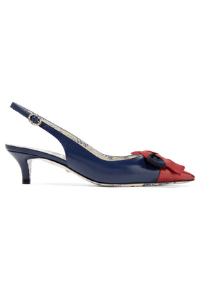 Gucci - Bow-embellished Two-tone Textured-leather Slingback Pumps - Navy