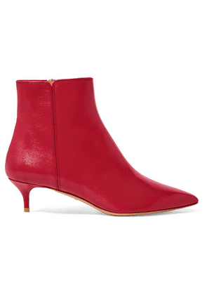 Aquazzura - Quant Leather Ankle Boots - Red