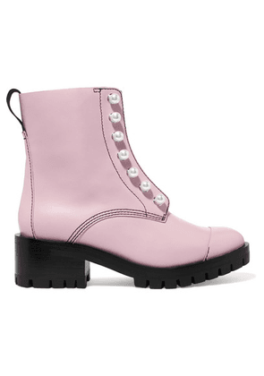 3.1 Phillip Lim - Hayett Faux Pearl-embellished Leather Ankle Boots - Blush
