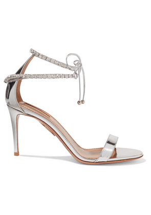 Aquazzura - Crillon Crystal-embellished Mirrored-leather Sandals - Silver