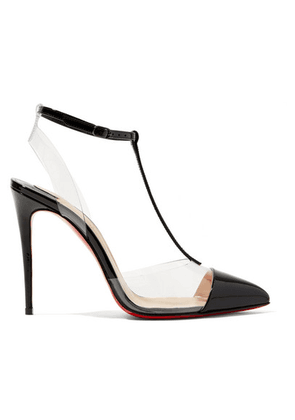 Christian Louboutin - Nosy 100 Patent-leather And Pvc T-bar Pumps - Black