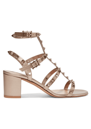 Valentino - Valentino Garavani The Rockstud Leather Sandals - Gold
