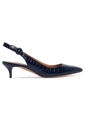 Aquazzura - Pure Croc-effect Leather Slingback Pumps - Navy