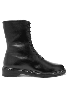 The Row - Fara Leather Ankle Boots - Black