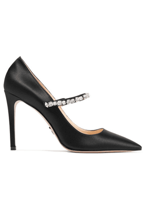 Prada - Crystal-embellished Satin Pumps - Black