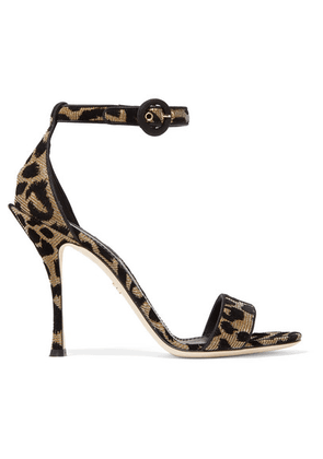 Dolce & Gabbana - Flocked Metallic Canvas Sandals - Leopard print