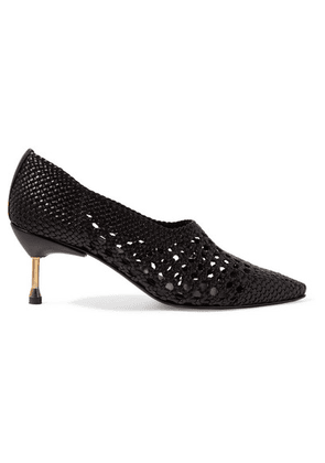 Souliers Martinez - Menorca Woven Leather Pumps - Black