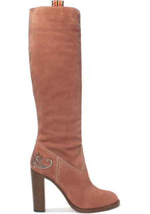 Etro - Embroidered Suede Knee Boots - Pink
