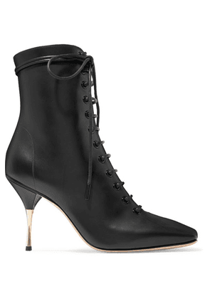 Petar Petrov - Stella Lace-up Leather Ankle Boots - Black