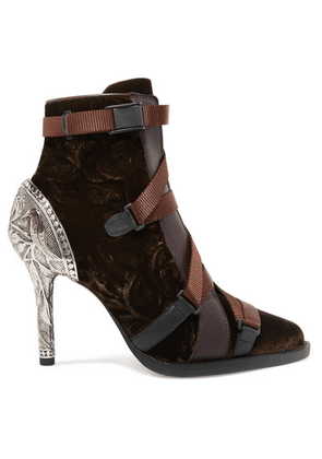 Chloé - Tracy Rubber And Canvas-trimmed Leather And Velvet Ankle Boots - Brown