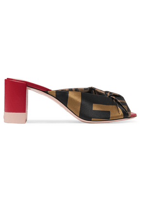 Fendi - Knotted Logo-print Satin And Leather Mules - Brown