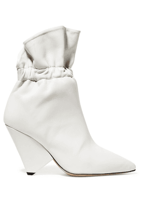 Isabel Marant - Lileas Ruched Leather Ankle Boots - Ivory