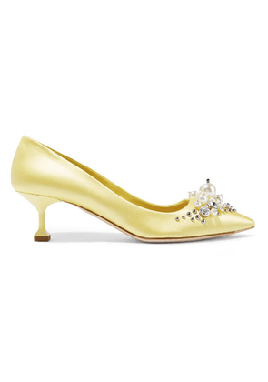 Miu Miu - Embellished Satin Pumps - Pastel yellow