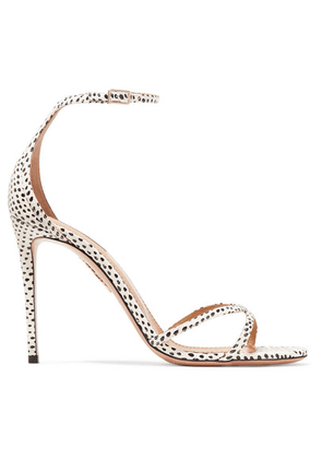 Aquazzura - Purist Polka-dot Elaphe Sandals - White