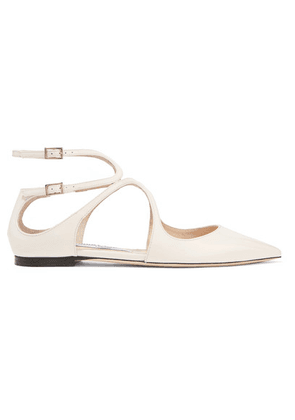 Jimmy Choo - Lancer Patent-leather Point-toe Flats - White
