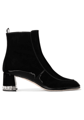 Miu Miu - Crystal-embellished Patent-leather Ankle Boots - Black