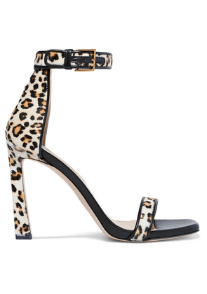 Stuart Weitzman - Squarenudist Leather-trimmed Leopard-print Calf Hair Sandals - Leopard print