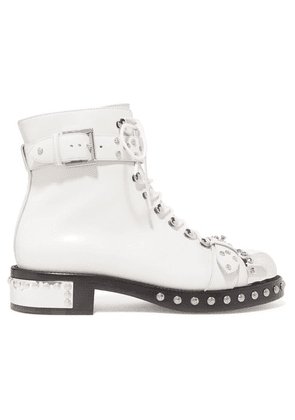 Alexander McQueen - Hobnail Studded Leather Ankle Boots - White