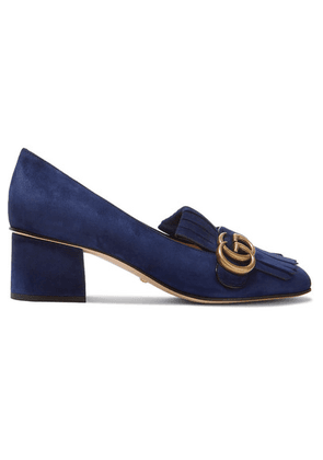Gucci - Marmont Fringed Logo-embellished Suede Pumps - Navy