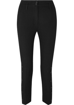 Ann Demeulemeester - Cropped Wool And Cotton-blend Twill Tapered Pants - Black