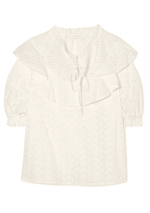 See By Chloé - Ruffled Broderie Anglaise Cotton Blouse - White
