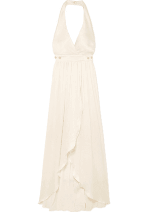 Balmain - Button-detailed Plissé Silk-crepe Gown - White