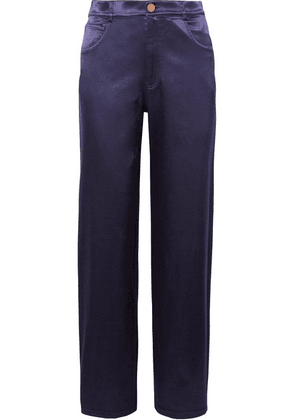 See By Chloé - Cotton-blend Satin Pants - Midnight blue