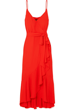 J.Crew - Wrap-effect Ruffled Crepe De Chine Midi Dress - Red