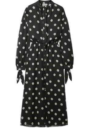 Nanushka - Zahara Pussy-bow Polka-dot Crinkled-chiffon Midi Dress - Black