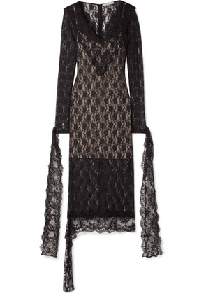 Christopher Kane - Tie-detailed Stretch-chantilly Lace Midi Dress - Black