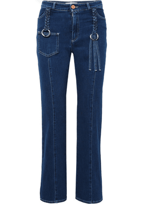 See By Chloé - Braided High-rise Straight-leg Jeans - Mid denim