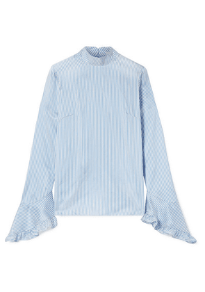 Erdem - Lindsay Ruffle-trimmed Striped Silk Blouse - Blue