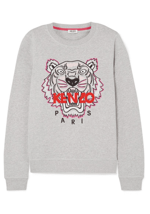 KENZO - Embroidered Mélange Cotton-jersey Sweatshirt - Light gray