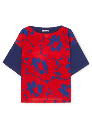 Marni - Floral-print Crepe De Chine Top - Red