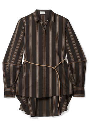 Brunello Cucinelli - Belted Beaded Striped Cotton And Silk-blend Shirt - Brown