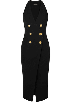 Balmain - Button-embellished Stretch-knit Midi Dress - Black