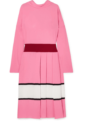 Marni - Pleated Color-block Crepe Midi Dress - Pink