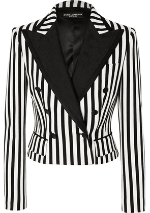 Dolce & Gabbana - Cropped Jacquard-trimmed Striped Cady Blazer - Black